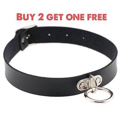 Black Punk Chain PU Leather Cord Charm O-Ring Choker Belt Collar Necklace