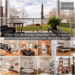 Open house today: 2 bedroom waterfront condo in Pincourt.