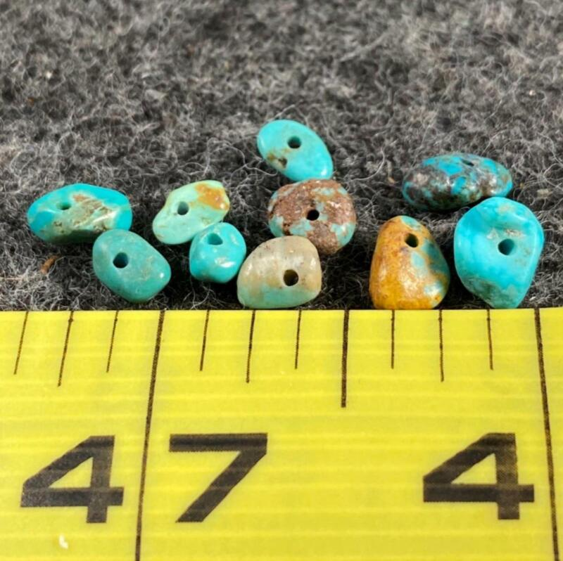 (10) Original Navajo Turquoise Indian Small Nugget Trade Beads 150+ Years Old