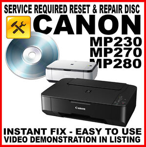 canon pixma mp230 mp270 mp280 fault reset disc service repair flashing light fix ebay. Black Bedroom Furniture Sets. Home Design Ideas