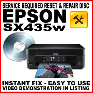 epson stylus sx435w service required reset disc e 10 fault repair fix ebay. Black Bedroom Furniture Sets. Home Design Ideas