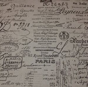 BALLARD DESIGNS DOCUMENT BROWN FRENCH SCRIPT FURNITURE FABRIC 1.5 YARDS 55