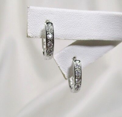 (PERFECT Pave' Set Clear Cz Small Oval Filigree Back White Gold Filled Hoops)