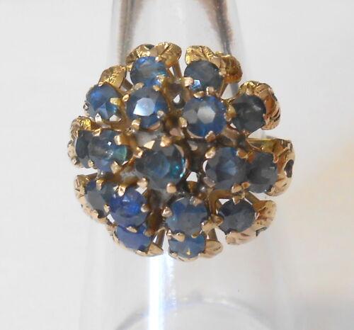 Vintage Fabulous Tier Princess Thai Blue Sapphire 10K Yellow Gold Ring Size 7.5