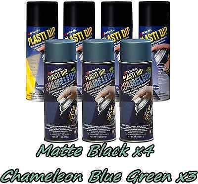 Performix Plasti Dip Wheel Kit 4 Matte Black 3 Chameleon Blue-green Cans Free Sh