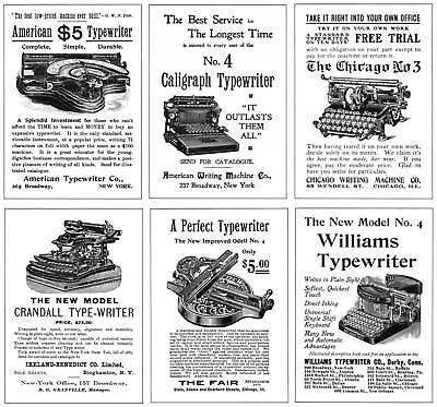 Historische / Alte Schreibmaschinen, 8 Plakate 30x40cm