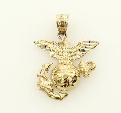 14K Real Yellow Gold Small Eagle Globe Anchor US Marine Corps Charm Pendant 14k Anchor Pendant