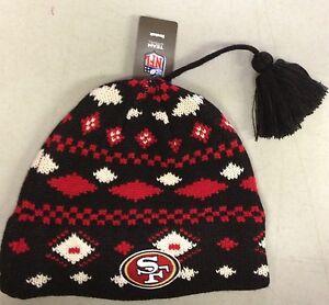 San-Francisco-49ers-Knit-Beanie-Toque-Winter-Hat-REEBOK-NEW-NFL-with-tassel