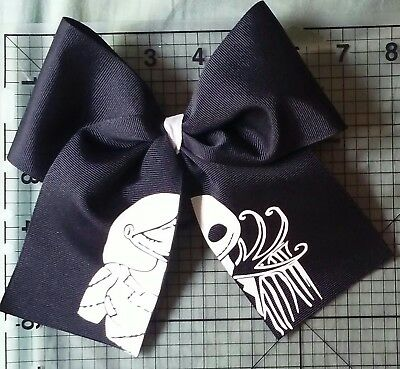 Nightmare Before Christmas Jack and Sally Big Cheer Size Hair Bow Halloween - Halloween Cheer Bows