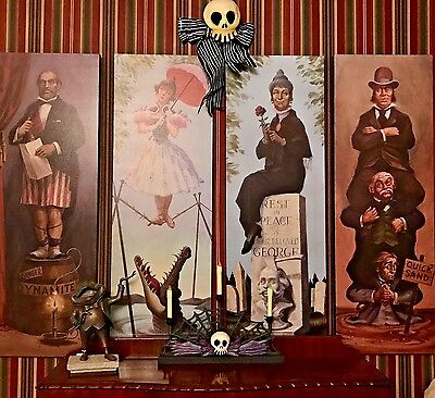 New Style Haunted Mansion Stretching Room Gallery Set Of 4 16X48  Htf Disneyland