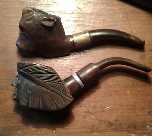 A pair of handcrafted  vintage  tobacco  pipes  Indian & buffalo