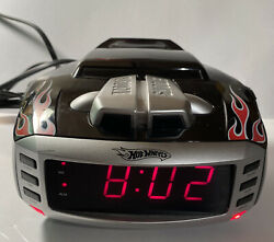 Hot Wheels Snore Slammer Alarm Clock AM/FM Radio Red/Black Flames Emerson HW800