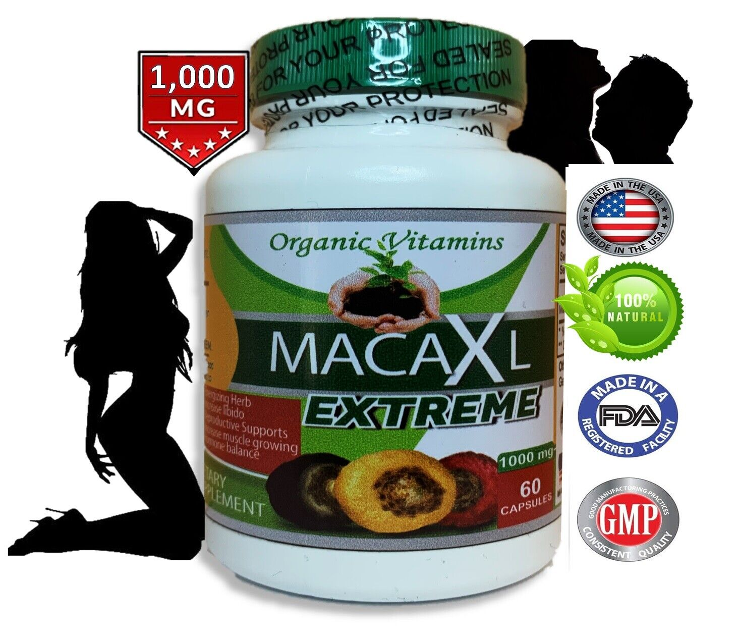 Maca Root Powder capsule for woman red black yellow bigger butt and hips booty 5