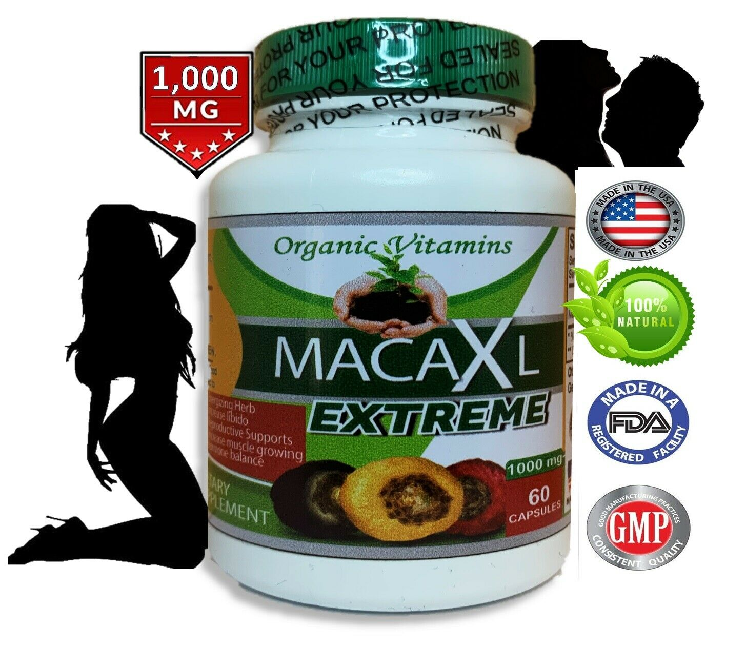 Organic vitamins Maca 1000mg extract 60 caps gold red black blend Energizing Her 4