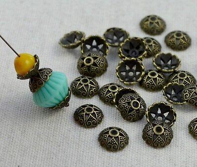 20  Perlenkappen Vintage Bronze - 8mm Perlen Kappen Blumen Perle