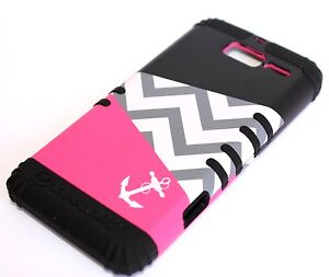 Motorola Droid RAZR M i XT907 - HARD & SOFT RUBBER HYBRID CASE PINK BLACK ANCHOR