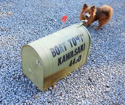 Vintage 1950s  Galvanized Dome Mailbox Trash Can Boat Dock Rural Postmaster