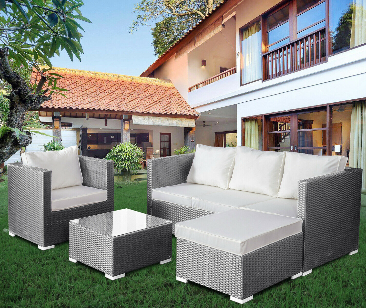 Garden Furniture - Rattan Lounger Sofa Set Garden Furniture Patio Corner Outdoor Conservatory Unit