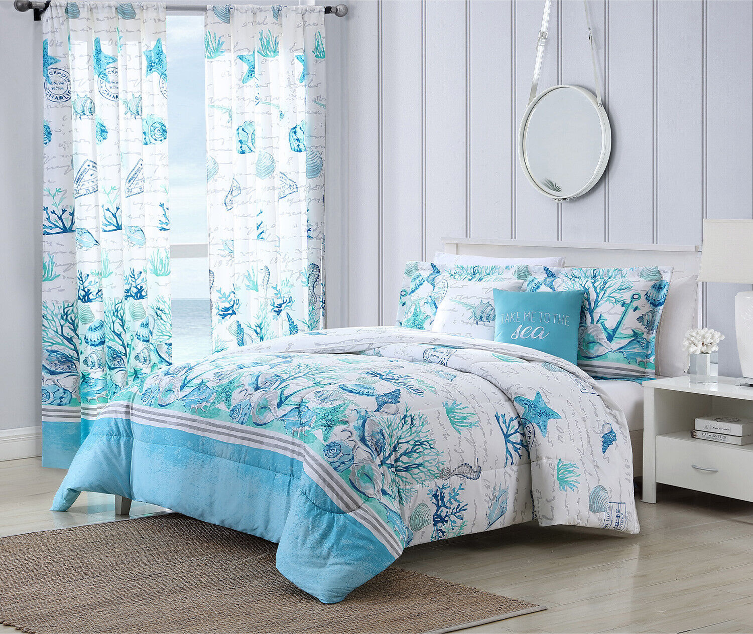 Twin, Full/Queen, or King Comforter Bed Set or Window Curtains Coastal Seashell Bedding