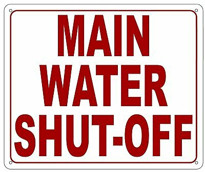 Main Water Shut Off Sign Reflectivewhite Aluminium 10x12 Inch