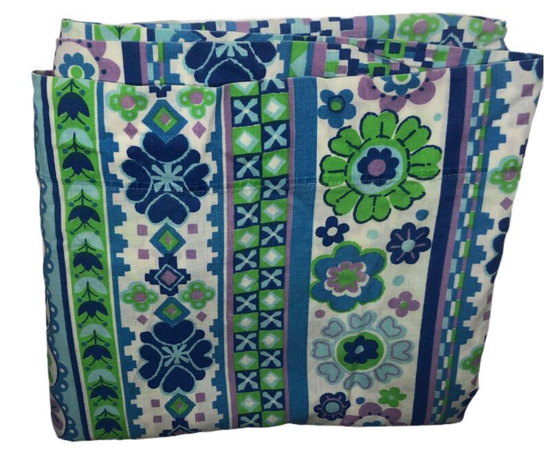 Vintage Fieldcrest Twin Flat Sheet Folk Song Blue Flower Power