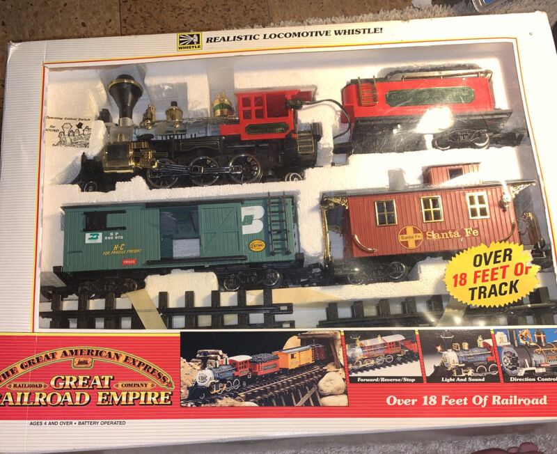 RARE Vintage New Bright The Great American Express Railroad Train Set.