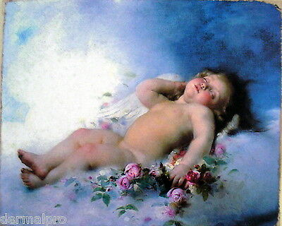 Vintage Art Oil Painting Print on Canvas Cherub Putto Baby Ready to Hang Rococo