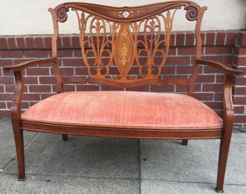 Antique Art Nouveau Edwardian Settee Love Seat