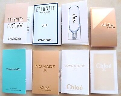 New Lot 8 Women's Perfume Fragrance Samples Chloe Nomade Tiffany Calvin Klein +