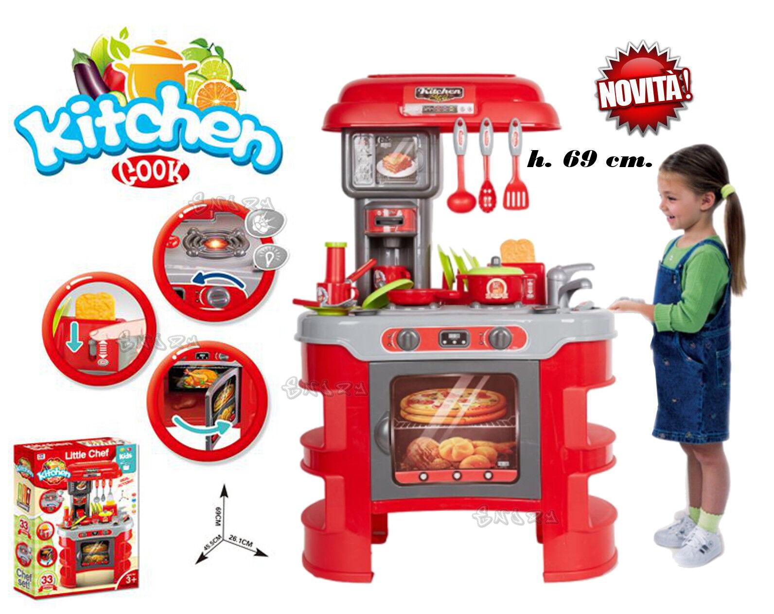 CUCINA GIOCATTOLO BIMBA cucina GRANDE per bambini chef con 30 accessori