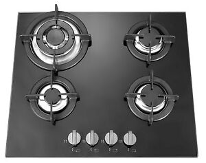 4 burner 60cm black glass built in gas hob with heavy duty burners and FFD