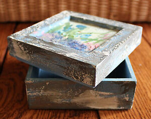 New Quality Wood Square Jewelry Gift Box Hand painted Wild Flower Scene Unique