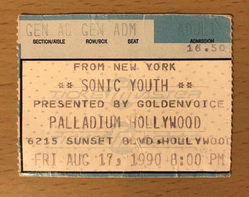 1990 NIRVANA / SONIC YOUTH / STONE TEMPLE PILOTS HOLLYWOOD CONCERT TICKET STUB 2