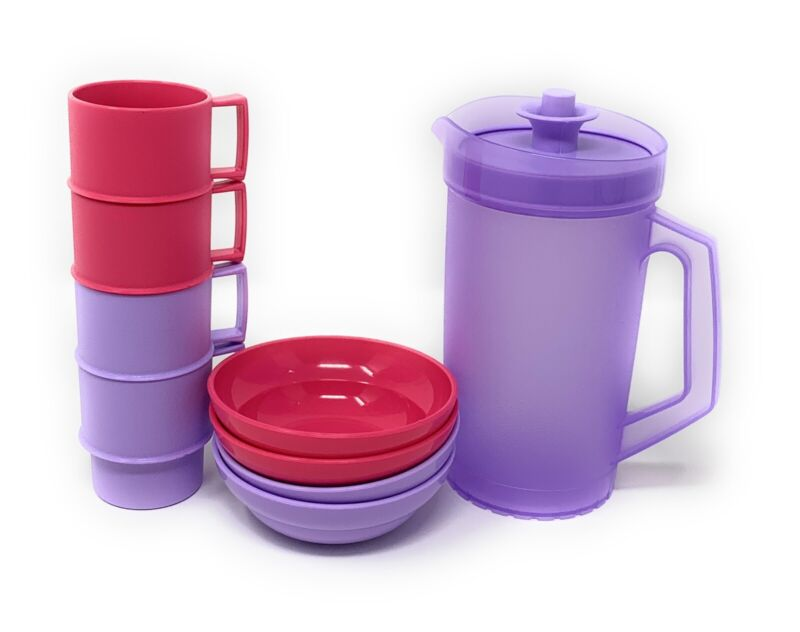 Tupperware Mini Kids Impression Pitcher with Multi Colored Mugs And Bowls NEW