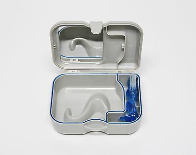 DENTURE RETAINER MOUTH-GUARD CASE BOX WITH MIRROR AND CLEANING BRUSH - 1 PC