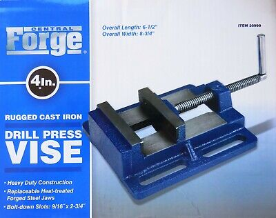 4 In Drill Press Vise Forged Steel Jaws Cast Iron Base Bolt Down Slot Heavy Duty