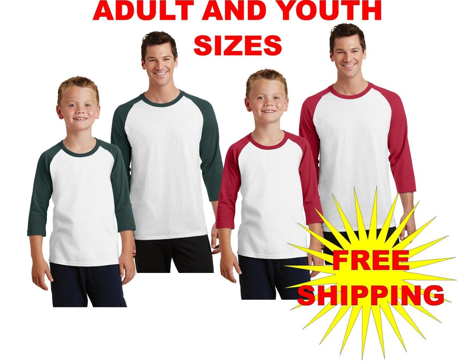 Port & Company Youth & Adult 3/4 Sleeve Raglan TShirt Baseba