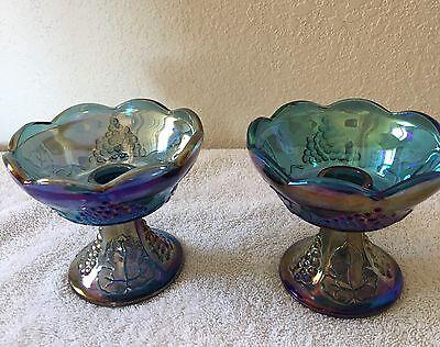 Vintage Blue Harvest Carnival Glass  Candleholders