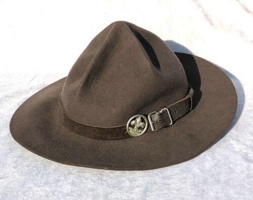 VINTAGE ANTIQUE BOY SCOUT BADEN POWELL LEMON SQUEEZER HAT WITH RS BADGE - LOT 3