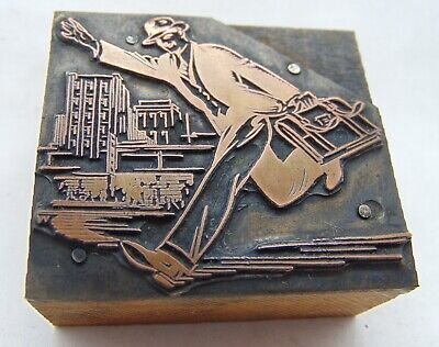 Printing Letterpress Printers Block Running Man In City With Brief Case