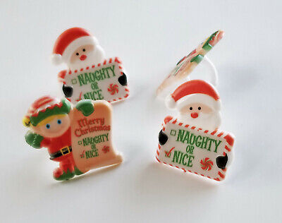 Naughty Nice Party (24 and Elf Naughty or Nice Cupcake Rings Christmas Party Favors Cake Toppers)