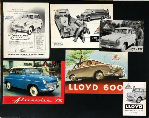 Vtg Lot of 6 50s-60s Lloyd Sales Brochures Alexander 600 Van Truck German Car