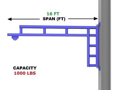Gorbel Work Station Jib Crane Wall Mounted - 12 Ton Capacity Span 16 Ft