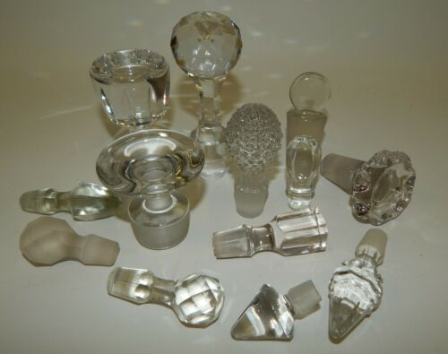 Estate Lot of 13 Vintage Crystal Glass Perfume Decanter Cruet Bottle Stoppers