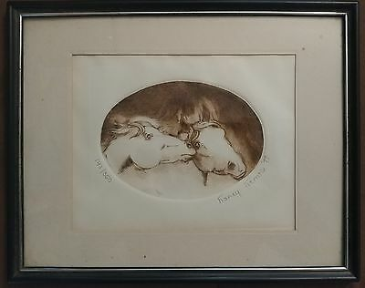 VINTAGE COLOR ITAGLIO OF THE 2 HORSES BEADS FRAMED