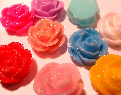 50 x MIXED COLOUR SPARKLY FLAT BACK RESIN ROSE BUD FLOWER 13MM x 8MM CABOCHONS