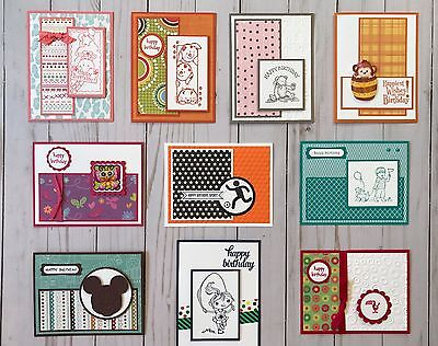 10 Handmade Kids/Teens Birthday greeting cards & envelopes Stampin' Up! + more