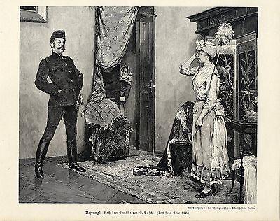 G.Basch ( Achtung ) Holzstich - Militärische Graphik von 1898