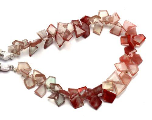 """Natural Gem Andesine Labradorite Faceted Slice Shape Beads 8.5"""" Strand 82Cts."""