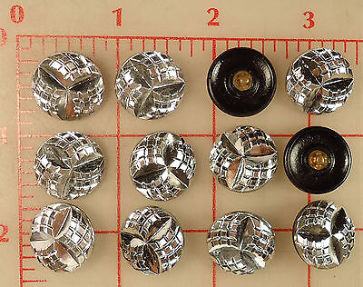 """2 Vintage Silver Glass Shank Buttons Tri Marquis 3/4"""" 18mm Czechoslovakia #34"""